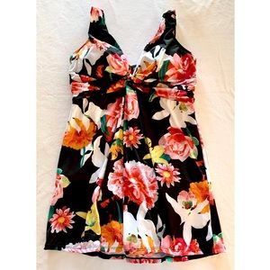 Swimsuits For All bright floral print swimdress